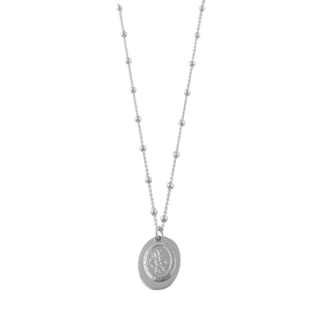 VON TRESKOW SILVER ROSARIO NECKLACE WITH ST CHRISTOPHER
