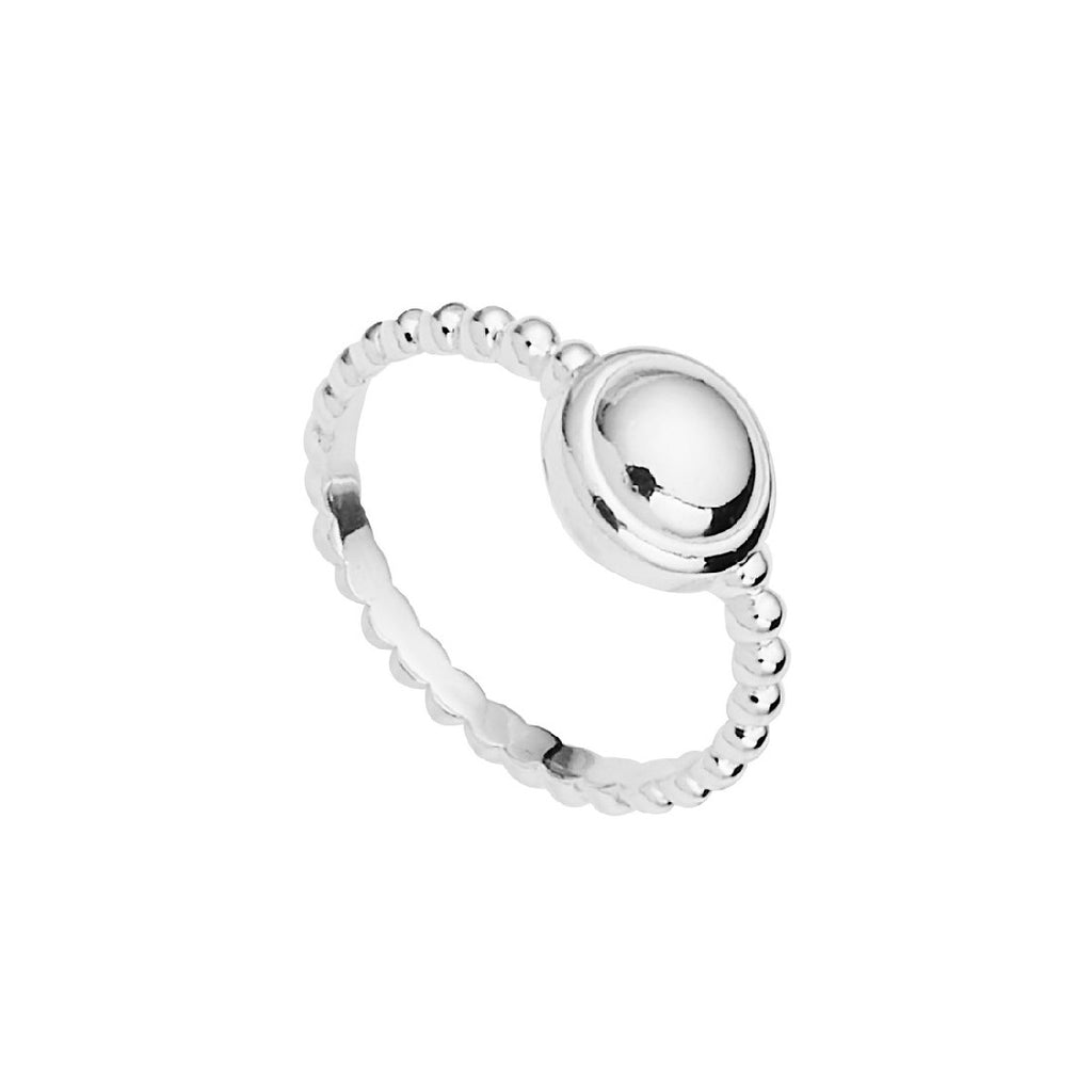 NAJO SILVER BEADED BAND DISC RING