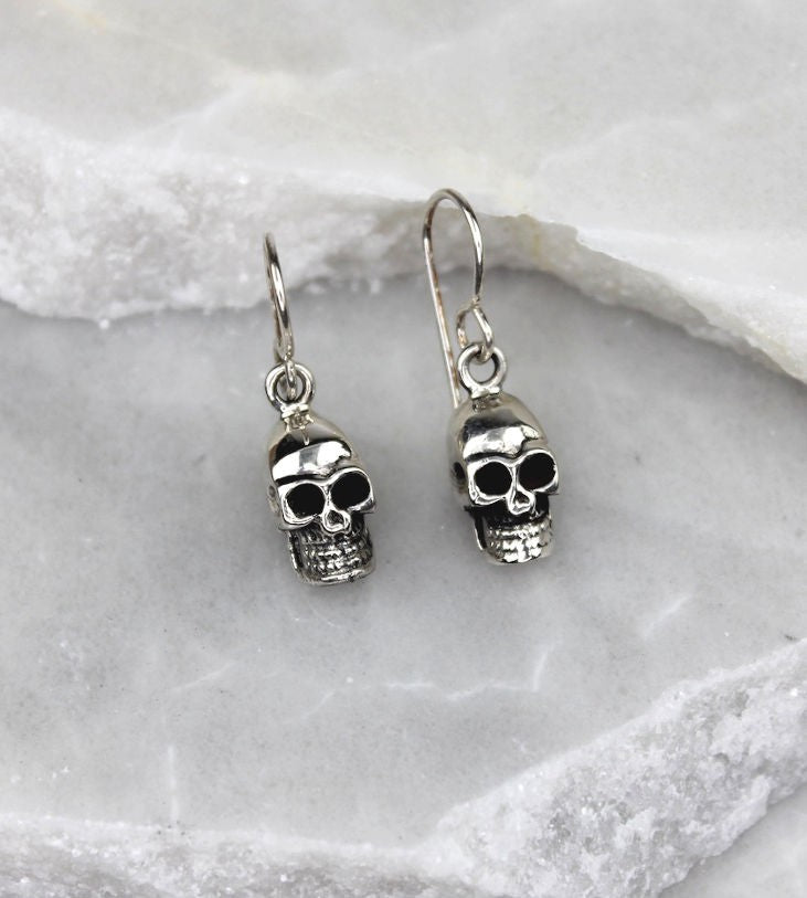 MEXICAN HAND MADE SILVER SKULL DROP EARRINGS