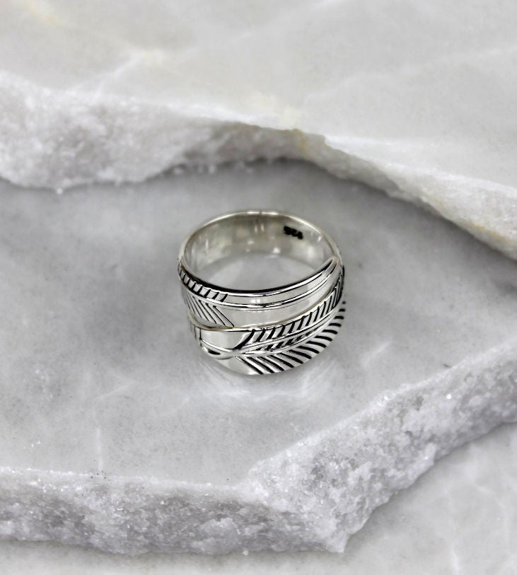 MEXICAN MADE SILVER FEATHER RING