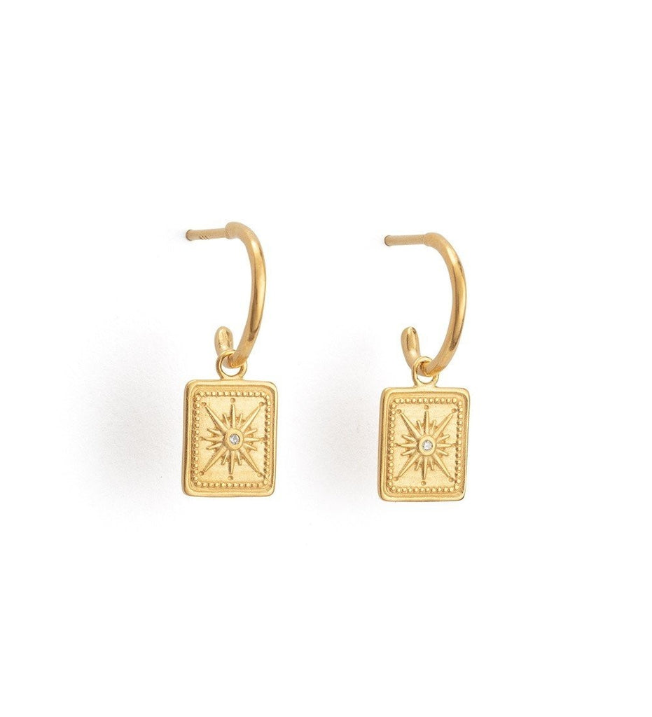 KIRSTIN ASH TRUE NORTH HOOPS Y/G PLATED EARRINGS