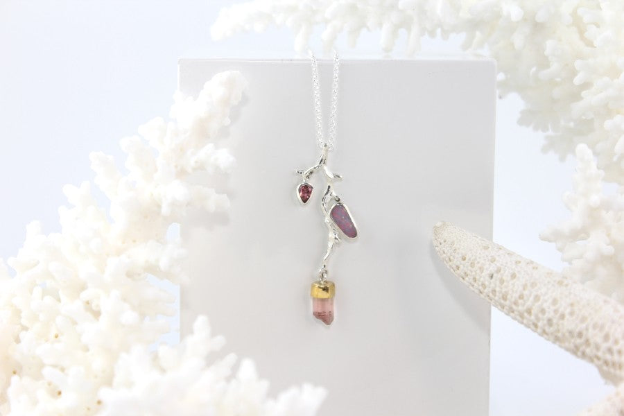 OPAL & PINK TOURMALINE SILVER NECKLACE