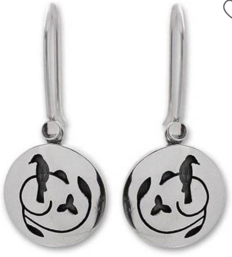 MEXICAN MADE SILVER PERCHED BIRD DISC EARRINGS