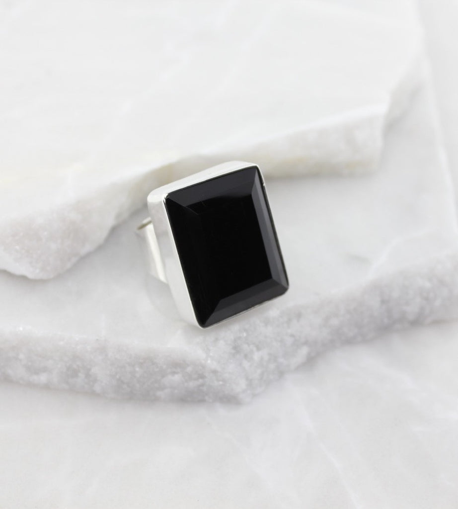 MEXICAN MADE LARGE BLACK CRYSTAL RING