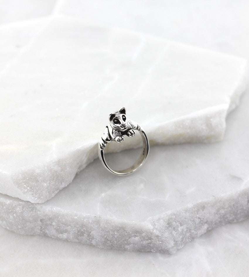 MEXICAN MADE SILVER LEAPING CAT RING