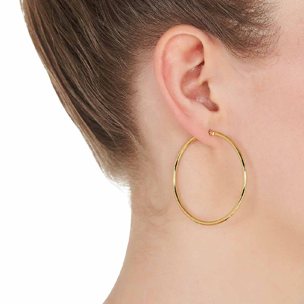 NAJO YELLOW GOLD PLATED LARGE HOOPED EARRINGS