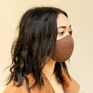Brown Houndstooth Mask