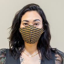 Load image into Gallery viewer, Yellow Black Houndstooth Mask