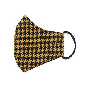 Yellow Black Houndstooth Mask