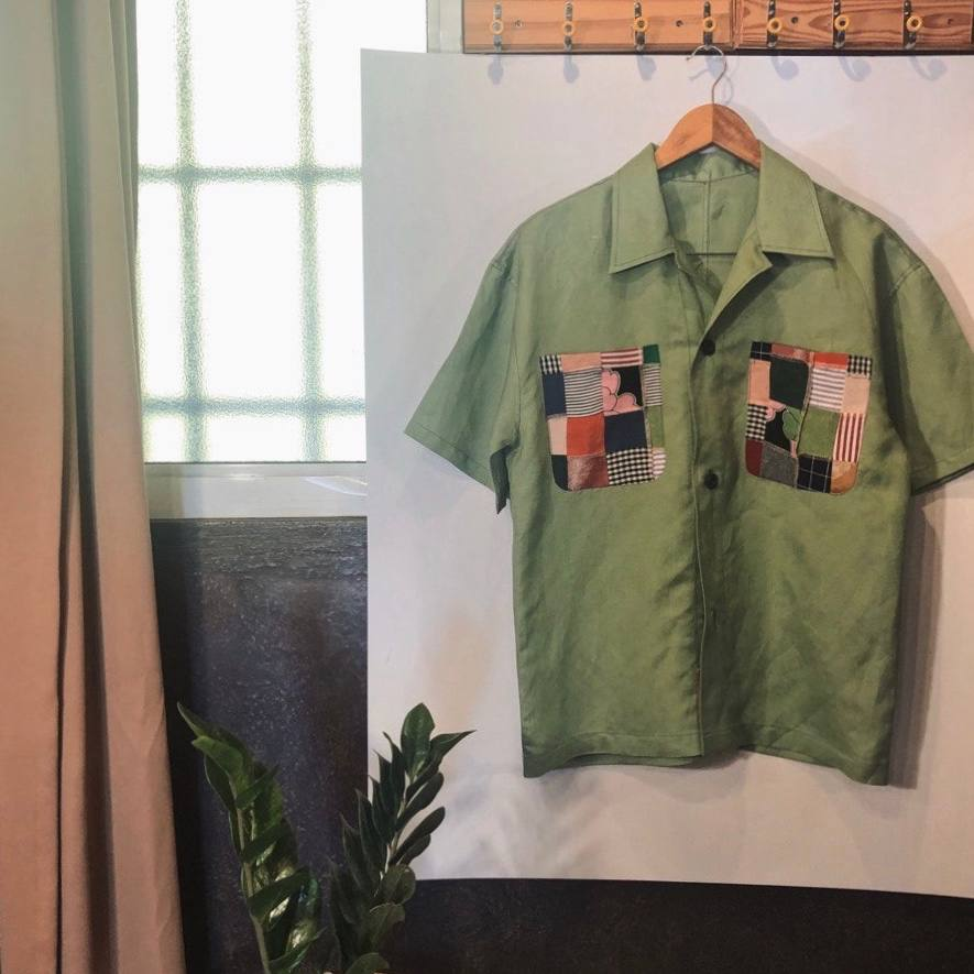 PRE ORDER: CAMPSHIRT in SEAFOAM GREEN with 2 patchwork pockkets