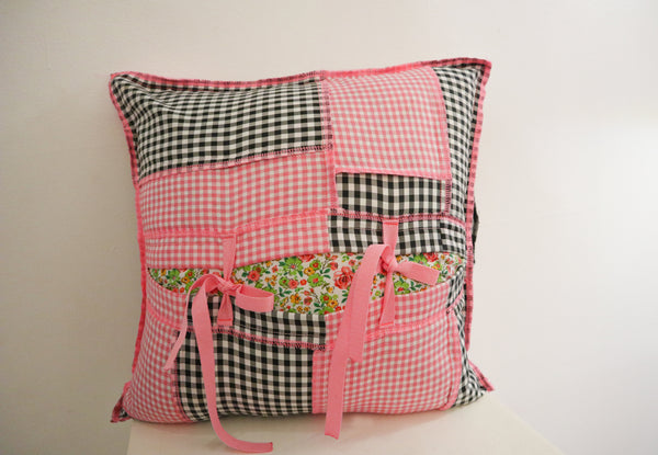 Gingham bbi ruffles pillow
