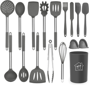 AILUKI Kitchen Utensils set Cookware with Stainless Steel Handle 14Pcs