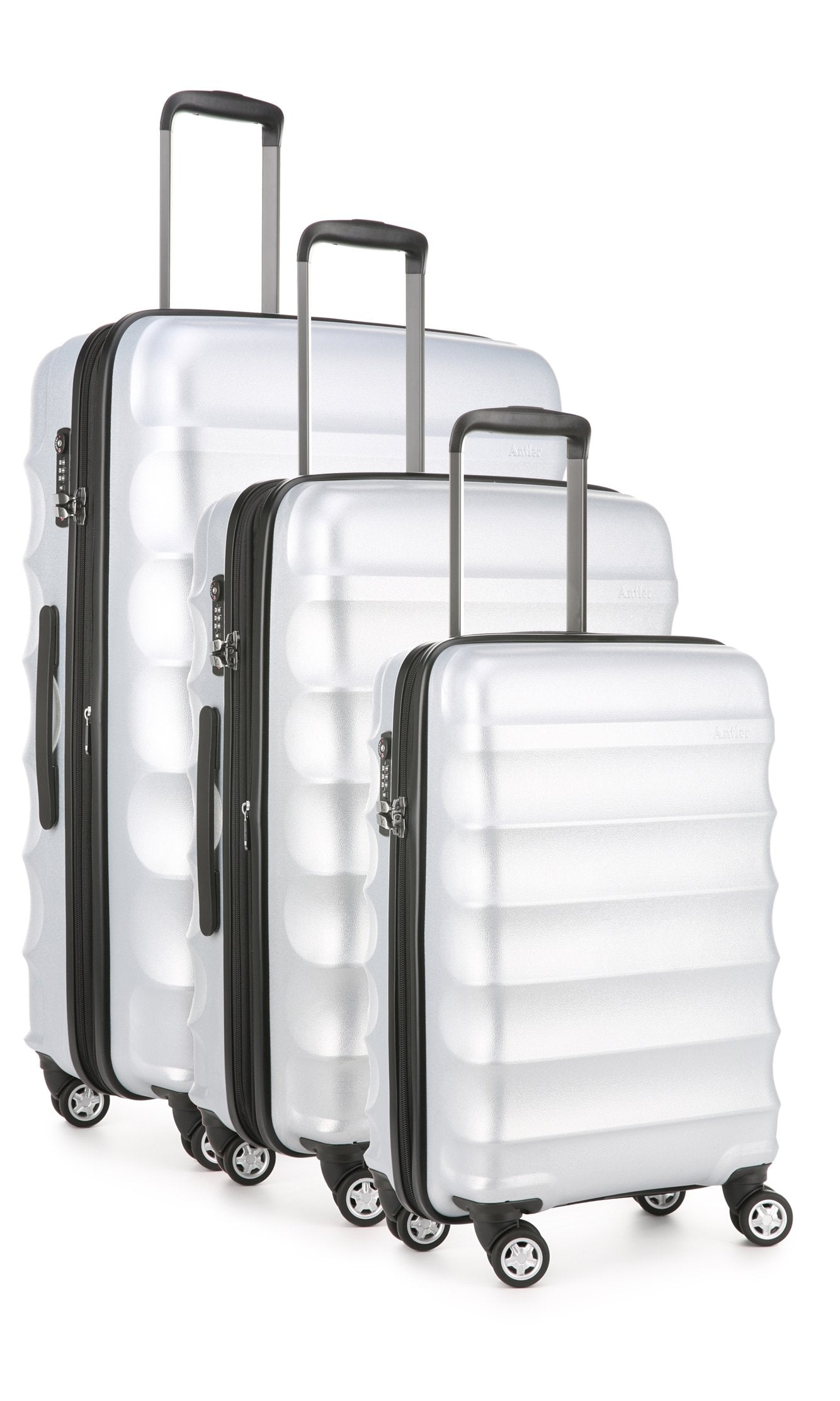 Antler Juno Metallic Suitcase Set of 3 in Silver