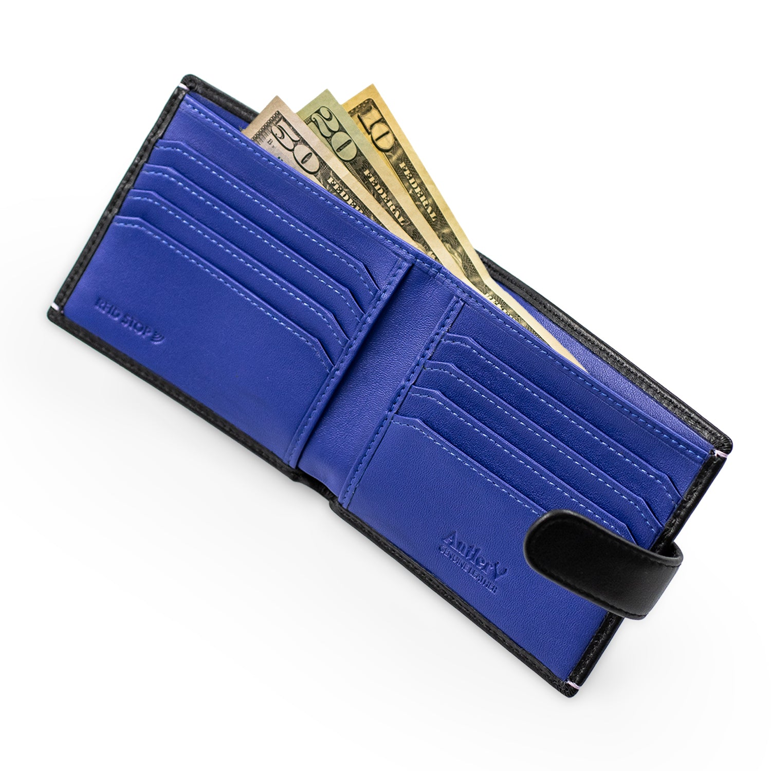 Antler Leather Wallet With Strap