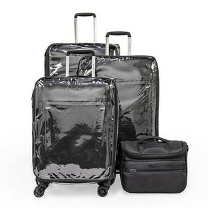 Open image in slideshow, Zero Gravity Soft Case Luggage by Roncato with Beauty Case and PVC Cover \ Black