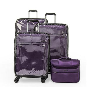 Open image in slideshow, Zero Gravity Soft Case Luggage by Roncato with Beauty Case and PVC Cover, Deep Purple