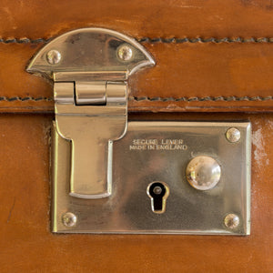 Close up of the nickel plated brass locks on an English leather case.
