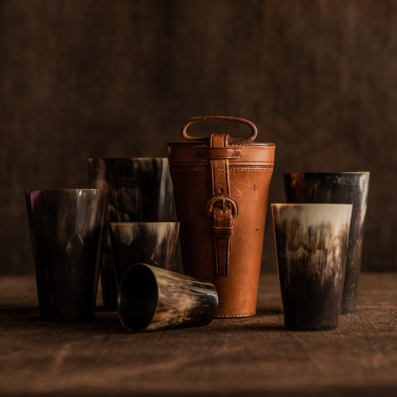 Leather Cased Set of Horn Beakers