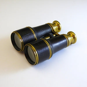 Leather and Brass Hand Held Binoculars