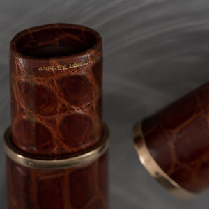 Asprey Crocodile Skin Oval Cigar Tube