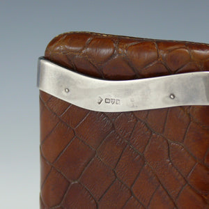 Crocodile Skin and Silver Cigar Case