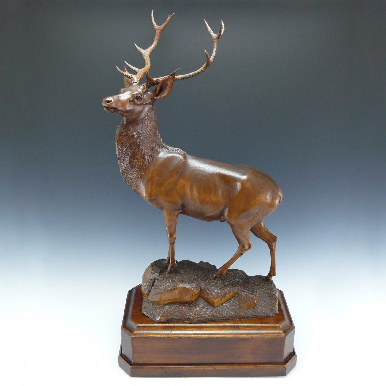 Austrian Carved Wooden Stag