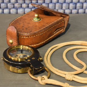 WWI Leather Cased Prismatic Compass with Lanyard