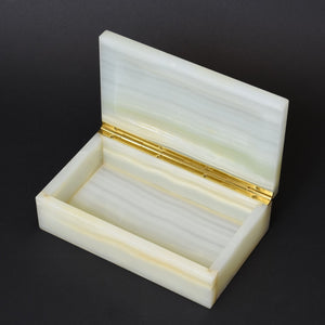 White Agate Stone Box with Inlaid Lapis Lazuli