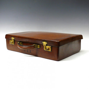 Mid Tan Norfolk Hide Leather Attache Case