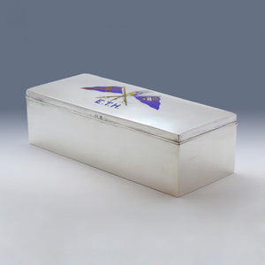 Silver Cigar Box with Enamel Flags