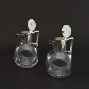 Pair of Silver and Cut Glass Claret Jugs
