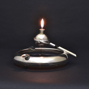 Silver Plated Glass Ashtray and Gimbal Lighter