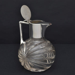 Ribbed Cut Glass and Silver Plate Claret Jug