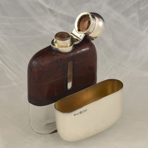Crocodile Skin and Silver Hip Flask