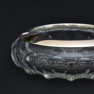 Cut Glass Cigar Ashtray with Silver Collar