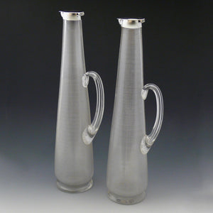 Pair of Striker Glass Decanters
