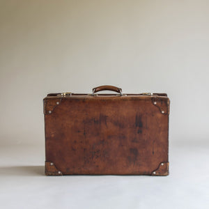 Fine Large Size Mid-Tan Leather Suitcase