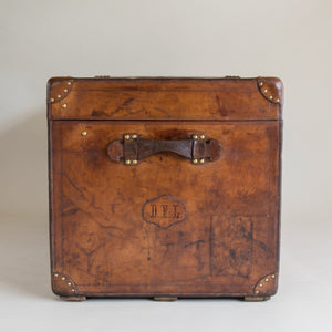 Large Leather Goyard Steamer Trunk