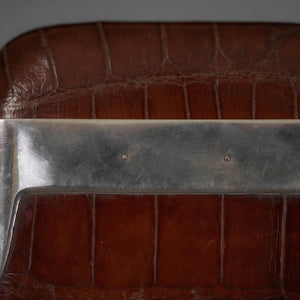 Crocodile Skin Cigar Case with Shaped Silver Collar