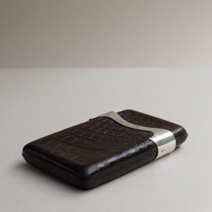 Crocodile Skin Cigar Case with Silver Collar