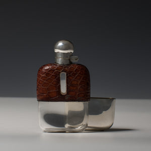 Small Crocodile Skin and Silver Hip Flask