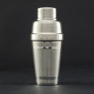 Silver Plated Cocktail Shaker with Engine Turned Decoration