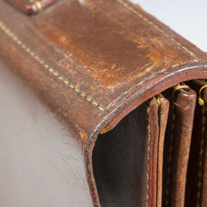Flap-over Dark Tan Leather Briefcase