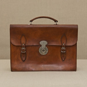 Flap-over Mid Tan Leather Briefcase