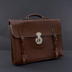 Flap-over Dark Brown Leather Briefcase