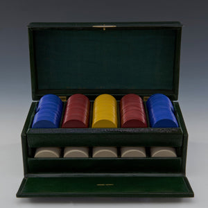 Leather Cased Set of Gambling Chips