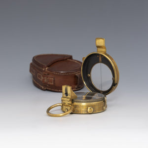 WWI Brass Compass in Leather Case