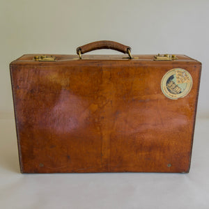 Mid Size Tan Leather Suitcase