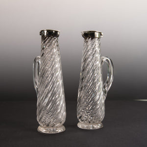 Pair of Small Wrythen Glass Decanters
