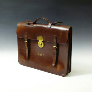 Dark Tan Leather Flap-over Briefcase